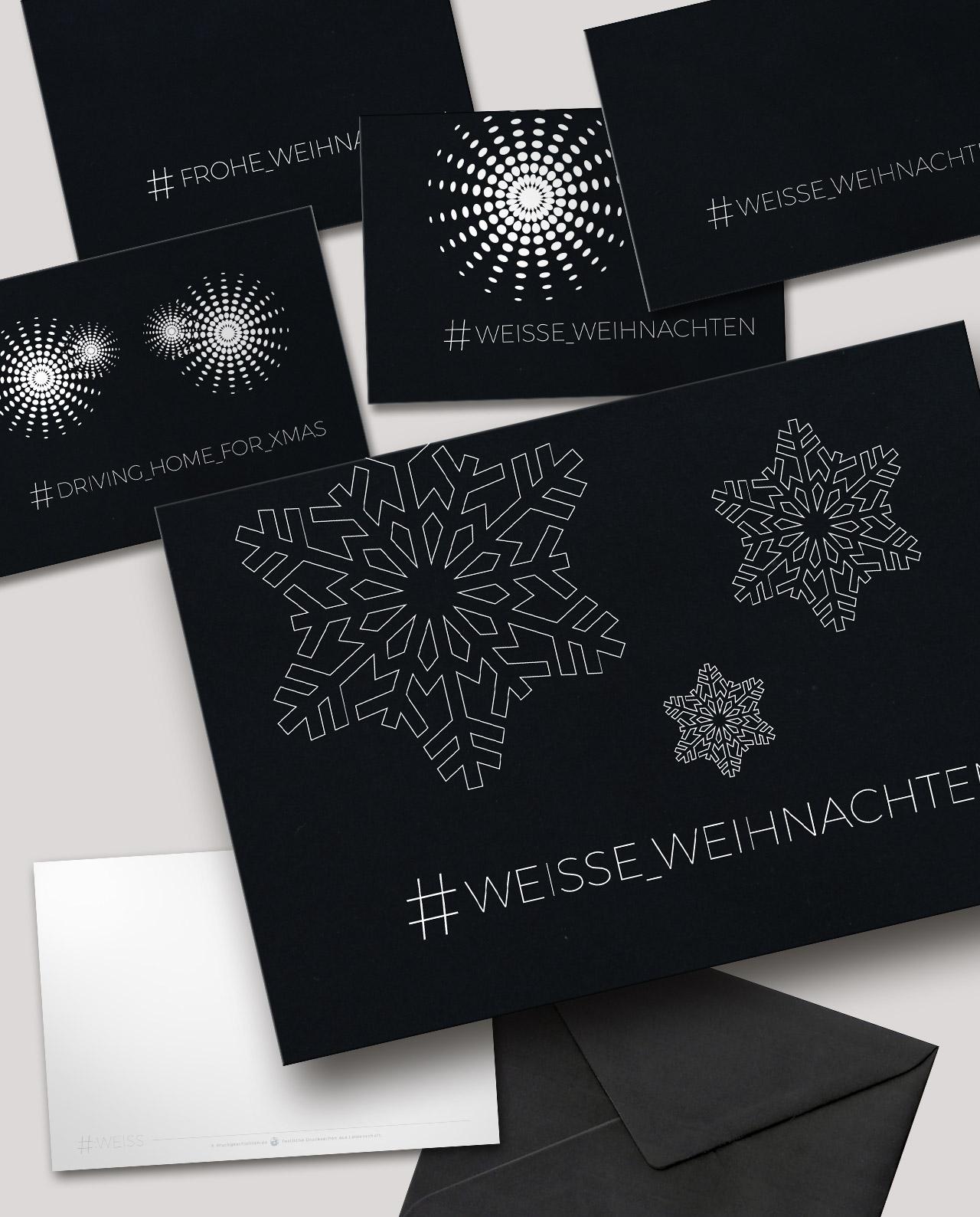 5er weihnachtskarten set veredelt mit matt schwarzer soft. Black Bedroom Furniture Sets. Home Design Ideas