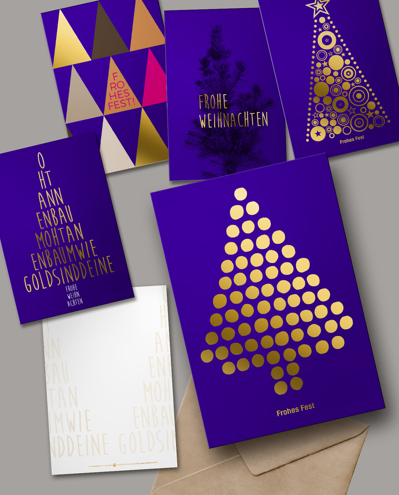 5er weihnachtskarten set gl nzend veredelt mit goldfolie. Black Bedroom Furniture Sets. Home Design Ideas